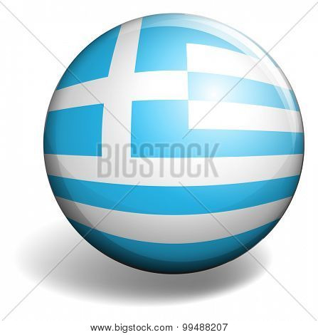 Greece flag on round badge illustration