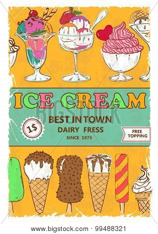 Retro Ice Cream Poster Design.