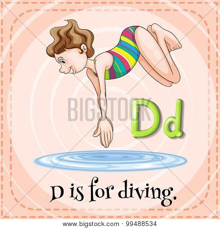 Alphabet D is for diving illustration