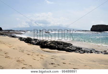 Rock Barrier By Beach