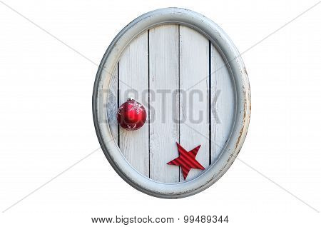 Oval Vintage Frame With Christmas Ball And Red Star