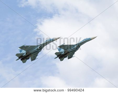 Military Su-30 Flying High In The Sky