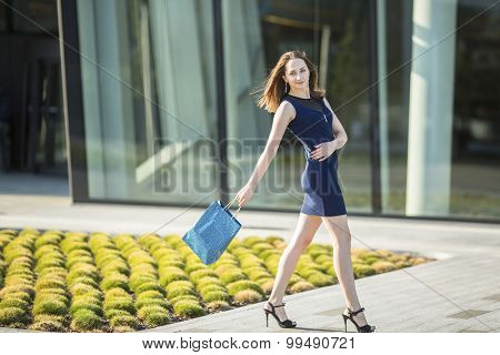 Elegant young attractive woman with a bag of shopping in his hand in front of the shopping center.