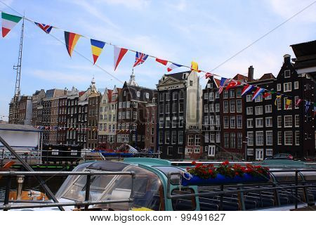 Amsterdam City Facades And Canals