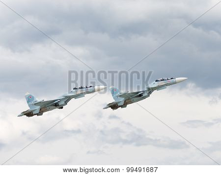 Powerful Military Su-30 Flying At An Airshow