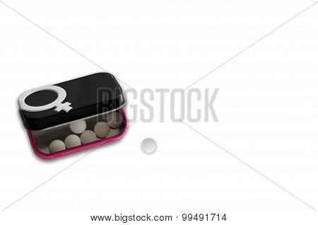 Contraceptive Pills Box With Gender Symbol Isolated On White