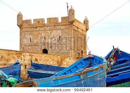 Boat And Sea In Africa Morocco  Brown Brick  Sky