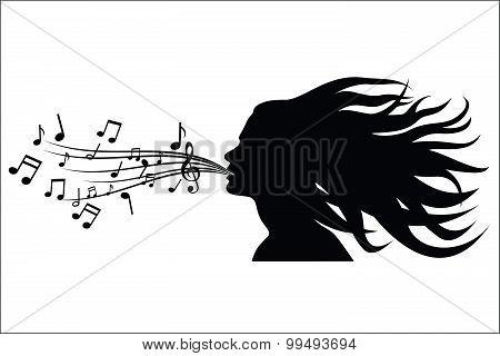 Sing woman silhouette