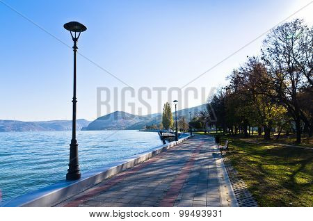 Danube river wide like a sea in front of Djerdap gorge, city of Golubac