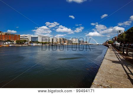 North bank of the river Liffey at Dublin City Center