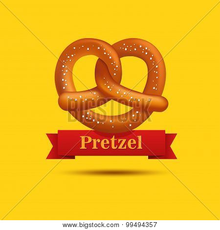Realistic vector pretzel on the yellow background.