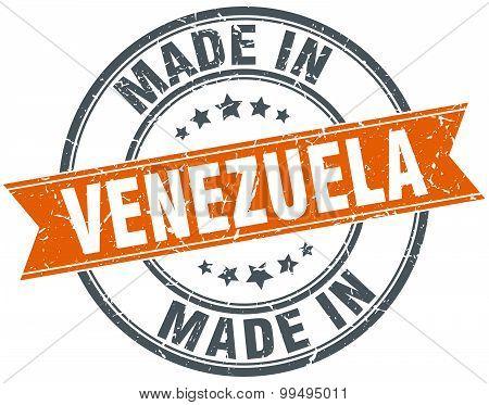 Venezuela Orange Grunge Ribbon Stamp On White