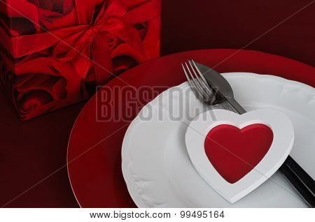 Romantic Dinner Setting With Gift Box And Heart