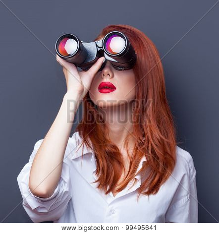 Businesswomen In White Shirt With Binocular