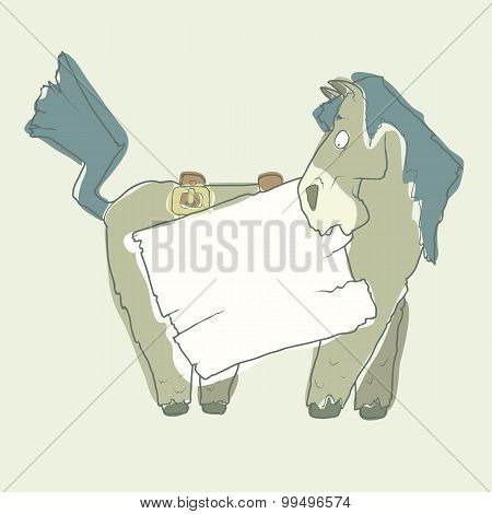 Cartoon Character Horse with Wooden Poster Isolated on White Background. Vector.