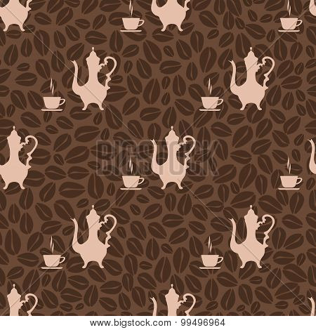 seamless pattern vintage coffee pot and coffee Cup