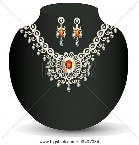 illustration women's necklace with precious stones and pearls