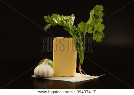 Compound Butter Ingredients Herb Coriander Garlic Lemon Fresh Homemade