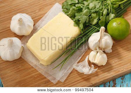 Compound Butter Ingredients Herb Coriander Garlic Lemon Fresh Green Onion