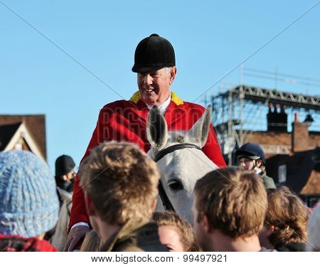 Tenterden, England - Dec 26th 2014: Annual Fox hunt meet on Hig street