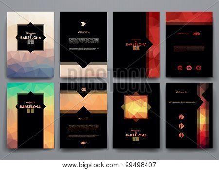 Vector templates with poligonal backgrounds on Barcelona theme.