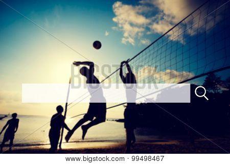 Beach Volleyball Happiness Teamwork Playful Concept