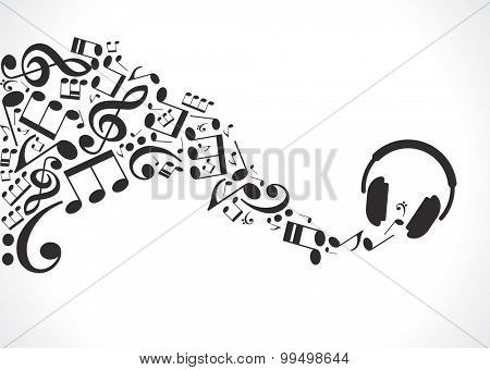 Concept music. Music background with headphones and musical notes