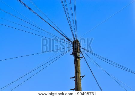 Telephone Wire On A Pole