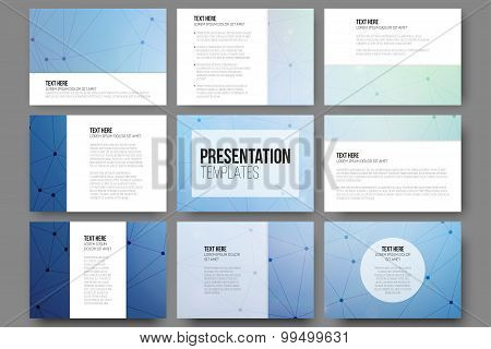 Set of 9 vector templates for presentation slides. Molecule structure blue background