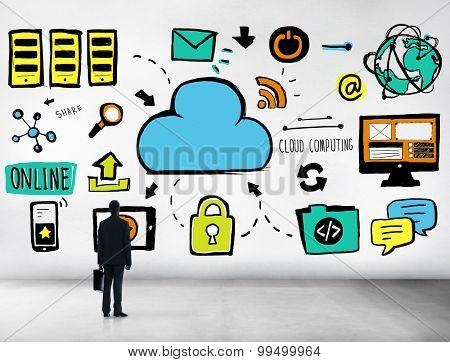 Businessman Cloud Computing Data Information Searching Concept