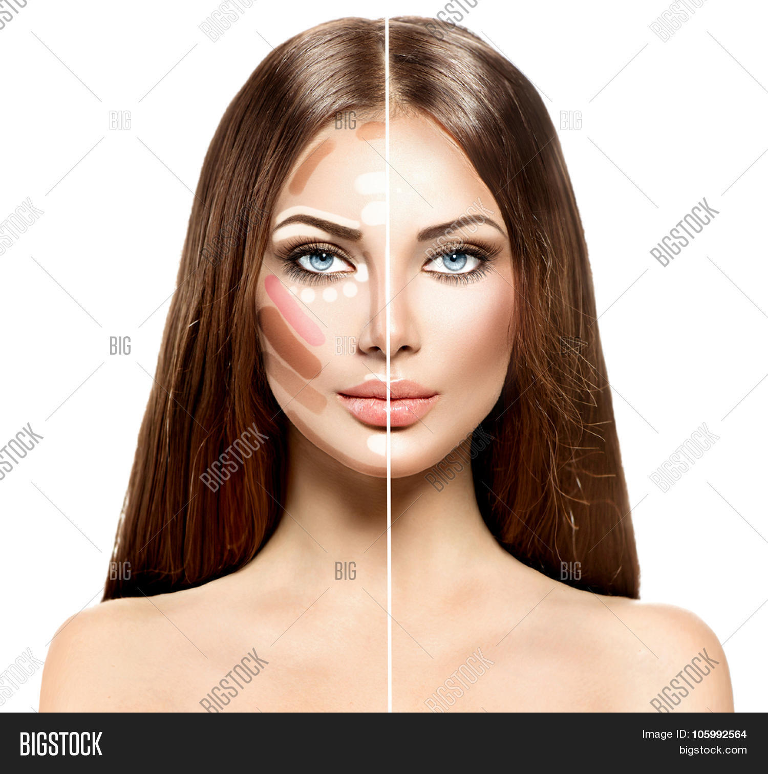 Divided woman face before and after blending Contour and Highlight ...