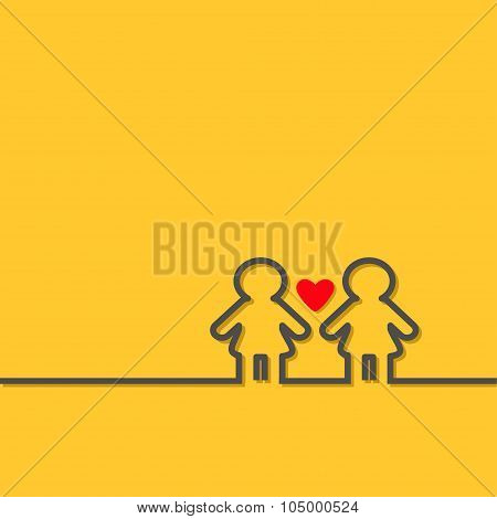 Gay Marriage Pride Symbol Two Black Contour Women Sign With Red Heart Lgbt Icon Yellow Background Fl