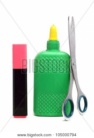 Bottle Of Glue, Scissors And A Pink Marker On A White Background