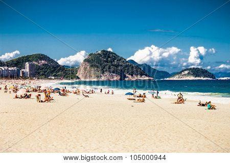 RIO DE JANEIRO, BRAZIL - APRIL 24, 2015: Copacabana Beach on April 24, 2015 in Rio de Janeiro. Brazil.