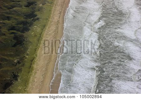 top view on the North sea beach