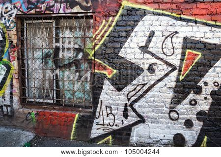 Street Art, Old Brick Wall With Graffiti Patterns