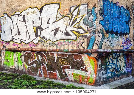 Street Art, Old Urban Walls With Graffiti Text