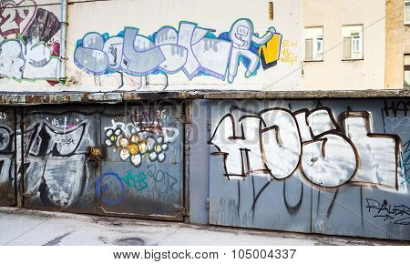 Street Art, Old Locked Garages With Grungy Graffiti