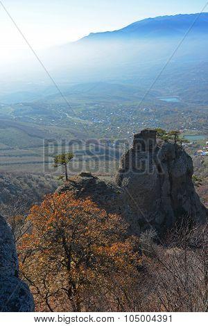 Autumn, Rocks And Mist