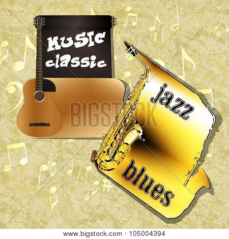 Music Background Classic Guitar Saxophone One