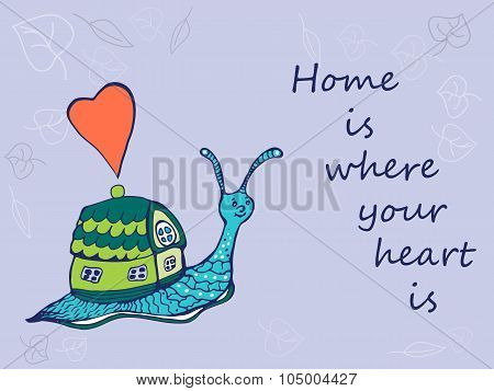 Hand drawn snail with its house