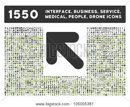Arrow Up Left Icon And More Interface, Business, Tools, People, Medical, Awards Flat Glyph Icon Coll