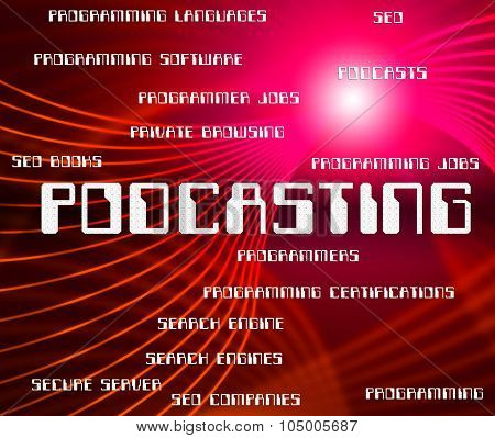 Podcasting Word Shows Audio Words And Broadcasting