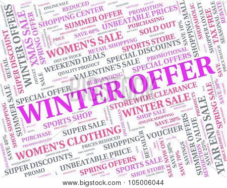 Winter Offer Indicates Bargains Sale And Words