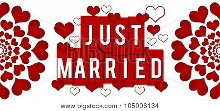 Just Married Red Hearts Stripes Horizontal