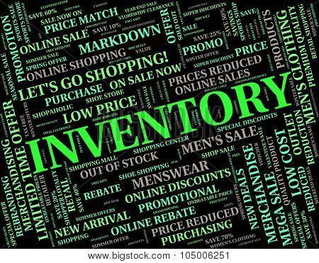 Inventory Word Represents Words Merchandise And Logistic