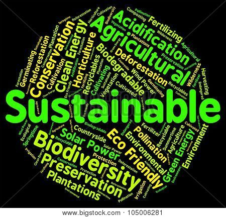 Sustainable Word Indicates Sustained Ecological And Recycle