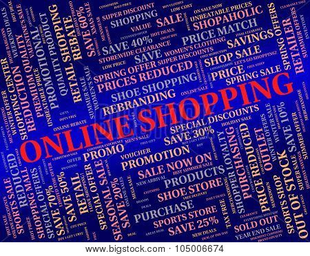 Online Shopping Represents World Wide Web And Commerce