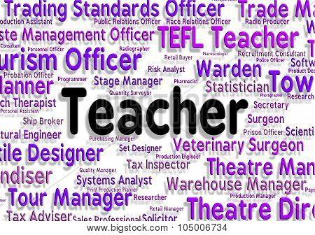 Teacher Job Indicates Give Lessons And Career