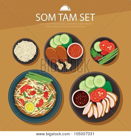 Papaya Salad, Som Tam Thai Food Flat Design